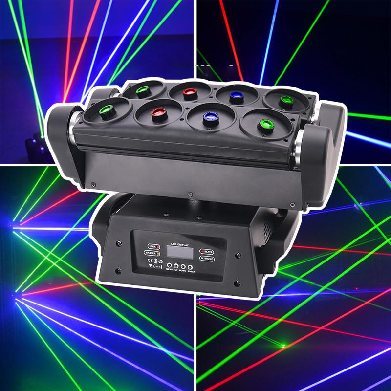 DJ Wedding Equipment 8 Eyes R/G/B Moving Head Beam Spider Laser Light MS-MH8SL