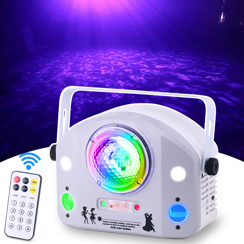 LED Water Ripple Gobo Strobe Laser Projector 4IN1 Effect Colorful Home Party KTV Bar Disco Lights MS-X012